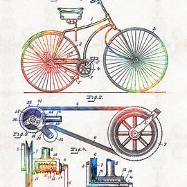 Sharon Cummings - Colorful Bike Art - Vintage Patent - By Sharon Cummings