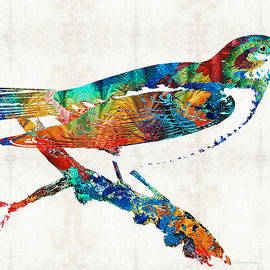 Sharon Cummings - Colorful Bird Art - Sweet Song - By Sharon Cummings