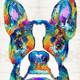 Sharon Cummings - Colorful Boston Terrier Dog Pop Art - Sharon Cummings