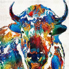 Sharon Cummings - Colorful Buffalo Art - Sacred - By Sharon Cummings