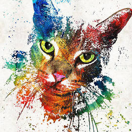 Sharon Cummings - Colorful Cat Art by Sharon Cummings