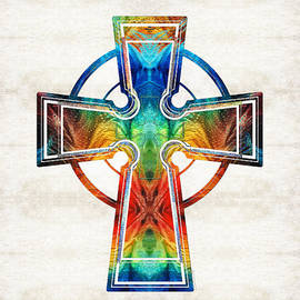 Sharon Cummings - Colorful Celtic Cross by Sharon Cummings
