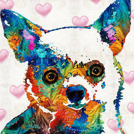 Sharon Cummings - Colorful Chihuahua Art by Sharon Cummings