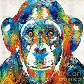 Sharon Cummings - Colorful Chimp Art - Monkey Business - By Sharon Cummings