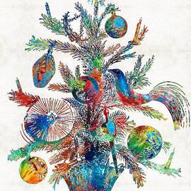 Sharon Cummings - Colorful Christmas Tree Art by Sharon Cummings