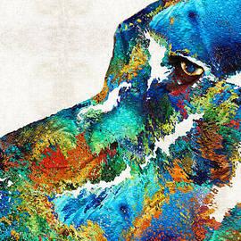 Sharon Cummings - Colorful Dog Art - Loving Eyes - By Sharon Cummings