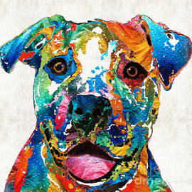 Sharon Cummings - Colorful Dog Pit Bull Art - Happy - By Sharon Cummings