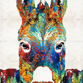 Sharon Cummings - Colorful Donkey Art - Mr. Personality - By Sharon Cummings