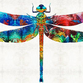 Sharon Cummings - Colorful Dragonfly Art By Sharon Cummings