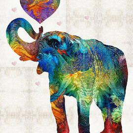 Sharon Cummings - Colorful Elephant Art - Elovephant - By Sharon Cummings