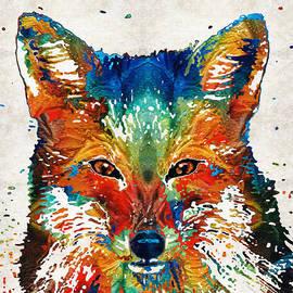 Sharon Cummings - Colorful Fox Art - Foxi - By Sharon Cummings