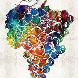 Sharon Cummings - Colorful Grapes Fruit Art by Sharon Cummings