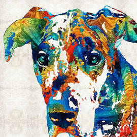 Sharon Cummings - Colorful Great Dane Art Dog By Sharon Cummings