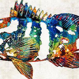 Sharon Cummings - Colorful Grouper 2 Art Fish by Sharon Cummings