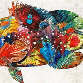 Sharon Cummings - Colorful Grouper Art Fish by Sharon Cummings