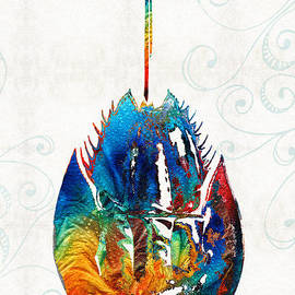 Sharon Cummings - Colorful Horseshoe Crab Art by Sharon Cummings