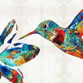 Sharon Cummings - Colorful Hummingbird Art by Sharon Cummings