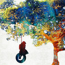Sharon Cummings - Colorful Landscape Art - The Dreaming Tree - By Sharon Cummings