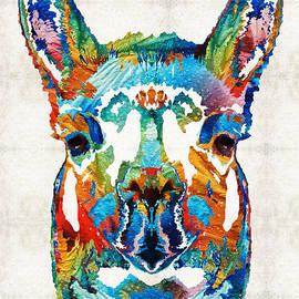Sharon Cummings - Colorful Llama Art - The Prince - By Sharon Cummings