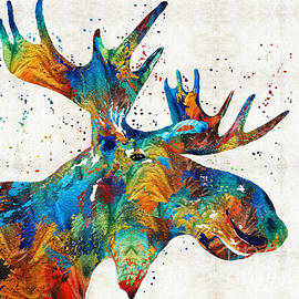 Sharon Cummings - Colorful Moose Art - Confetti - By Sharon Cummings