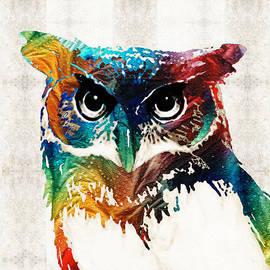 Sharon Cummings - Colorful Owl Art - Wise Guy - By Sharon Cummings