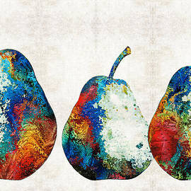 Sharon Cummings - Colorful Pear Art - Three Pears - By Sharon Cummings