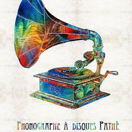 Sharon Cummings - Colorful Phonograph Art by Sharon Cummings