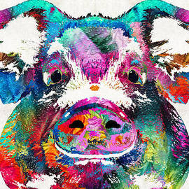 Sharon Cummings - Colorful Pig Art - Squeal Appeal - By Sharon Cummings