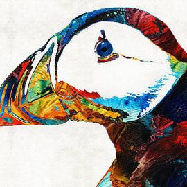 Sharon Cummings - Colorful Puffin Art By Sharon Cummings