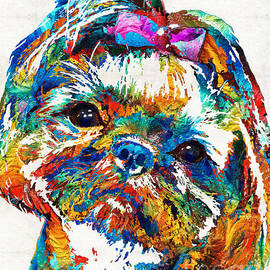 Sharon Cummings - Colorful Shih Tzu Dog Art by Sharon Cummings