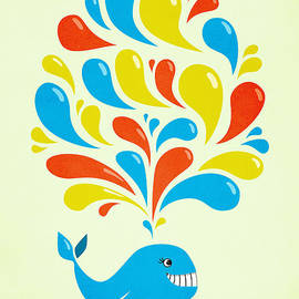 Boriana Giormova - Colorful Swirls Happy Cartoon Whale