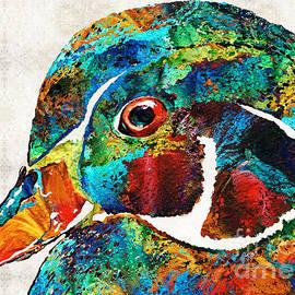 Sharon Cummings - Colorful Wood Duck Art by Sharon Cummings