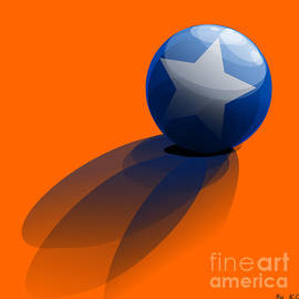 R Muirhead Art - Blue Ball decorated with star orange background