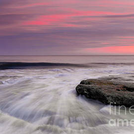 Jo Ann Tomaselli - Coquina Rocks Washed by Ocean Waves At Colorful Sunset