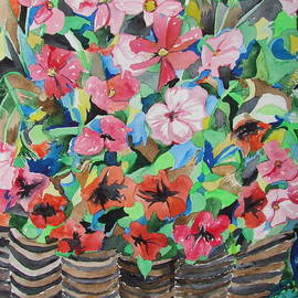 Esther Newman-Cohen - Cosmos and Petunias in a Wicker Basket