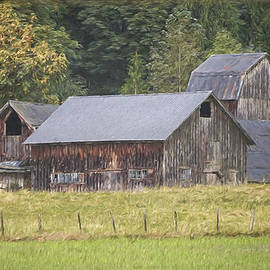 Jordan Blackstone - Country Art - Rustic Old Barns with Cow in the Pasture