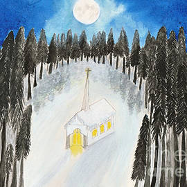 Conni Schaftenaar Elderberry Blossom Art - Country Church in Moonlight Silent Night