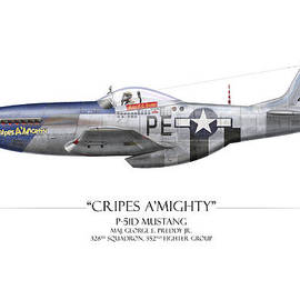 Craig Tinder - Cripes A Mighty P-51 Mustang - White Background