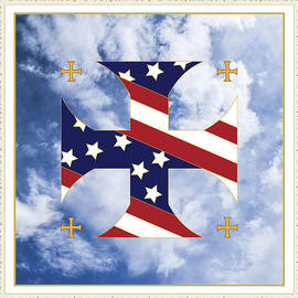 Signo Vinces Design - Cross and Flag One Nation Under God