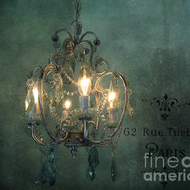 Kathy Fornal - Crystal Chandelier - Paris Dreamy Teal Chandelier - Sparkling Romantic Teal Chandelier Opulence