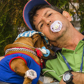 David Litschel - Cuban Man with Binky and Dog
