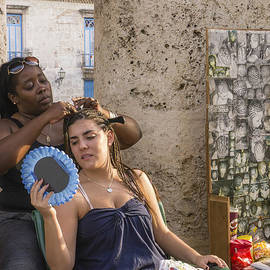 David Litschel - Cuban Woman Having Hair Braided
