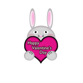 Shelley Neff - Cute Bunny with Pink Valentines Day Heart Wishes