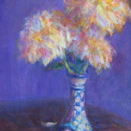 Quin Sweetman - Dahlias in Mexican Vase - Original Oil Painting - Still Life - Flowers