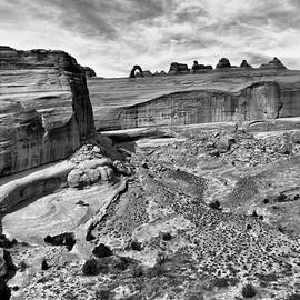 Silvio Ligutti - Delicate Arch in the Distance in Monochrome - Arches National Park - Moab Utah