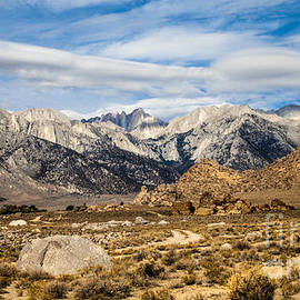 Jerry Cowart - Desert View Of Majestic Mount Whitney Mountain Peaks With Clouds