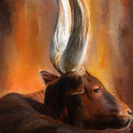 Lourry Legarde - Dignified Pose- Texas Longhorn Paintings