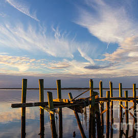 Dawna  Moore Photography - Dilapidated Dock in Reflection Fernandina Beach Florida
