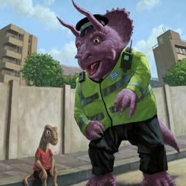 Martin Davey - Dinosaur Community Policeman helping youngster
