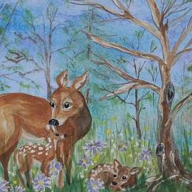 Ellen Levinson - Doe and Fawns in the Wildflowers